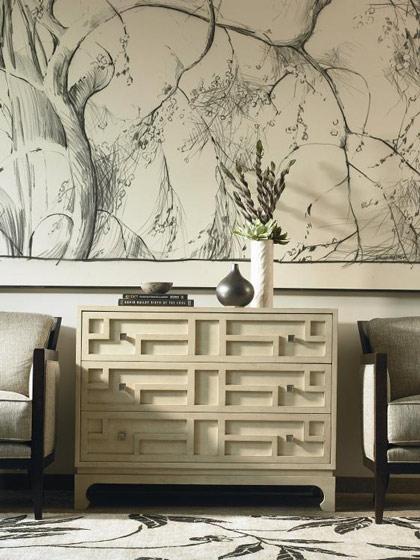乳白色优雅中式玄关柜效果图
