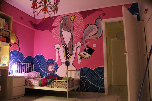 粉色美女手绘墙效果图