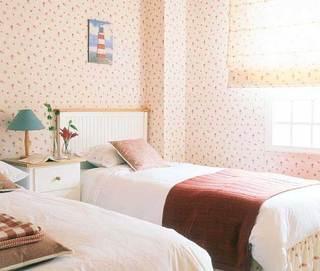 浪漫田园卧室壁纸背景墙设计效果图
