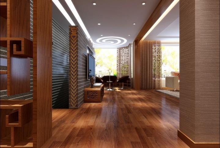 中式实木地板走廊效果图