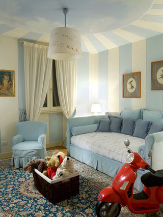 蓝色白色儿童房沙发床效果图