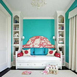 蓝绿色白色儿童房效果图