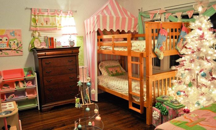 实木原木双层儿童床效果图