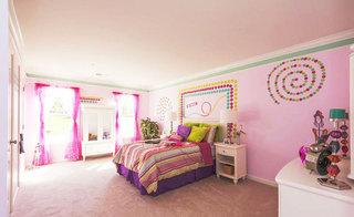 简约粉色卧室飘窗效果图