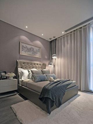 简约灰色白色调卧室效果图