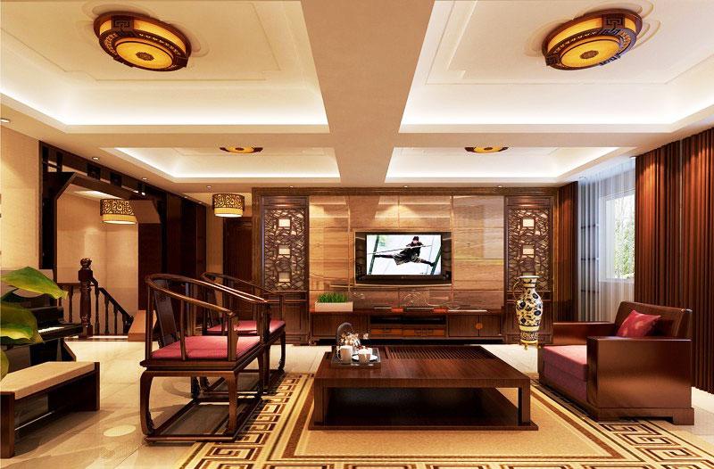 深色客厅红木沙发效果图