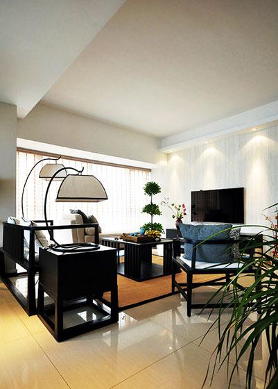 黑色客厅红木沙发效果图