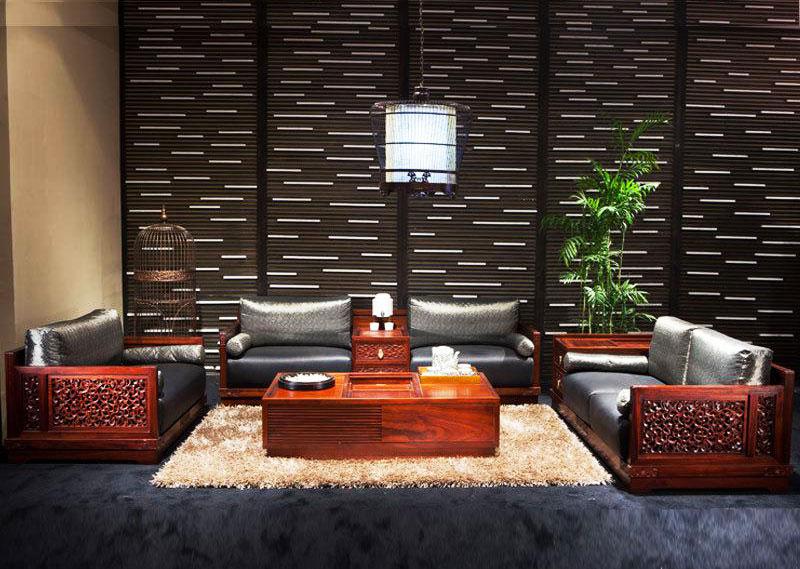 大气客厅红木沙发效果图