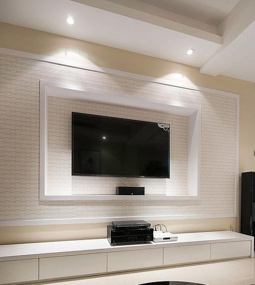 米白色电视背景墙效果图