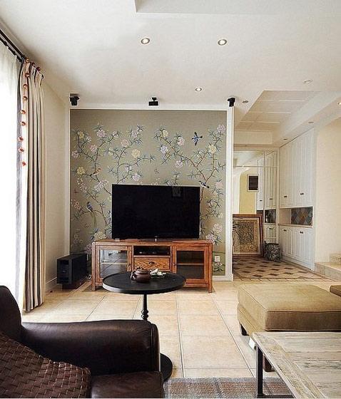 棕色印花电视背景墙效果图
