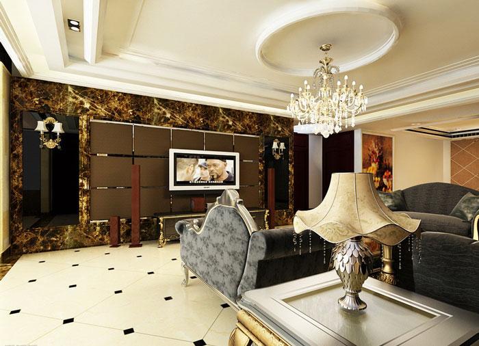 茶色欧式电视背景墙效果图