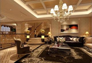 欧式豪华客厅吊顶效果图