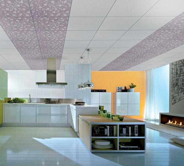 白色紫色厨房集成吊顶效果图