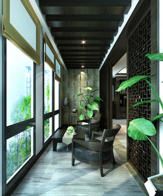 中式生态木阳台吊顶效果图