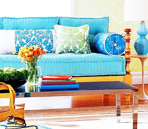 蓝色沙发茶几效果图