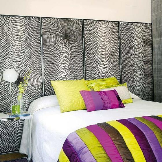 漆铁屏风卧室床头设计效果图