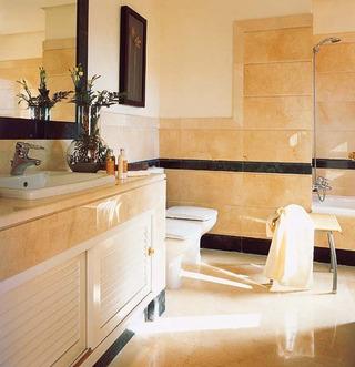 时尚大气米黄色大理石卫生间设计效果图