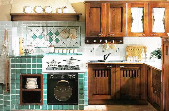 绿色砖砌橱柜效果图高清图片