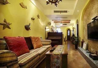 地中海温馨沙发背景墙设计效果图
