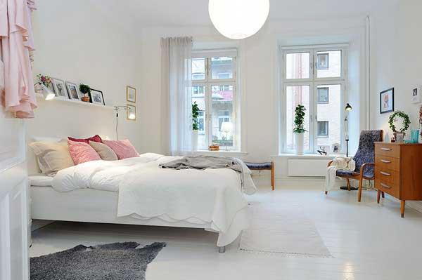 素净粉色点缀女生卧室设计效果图