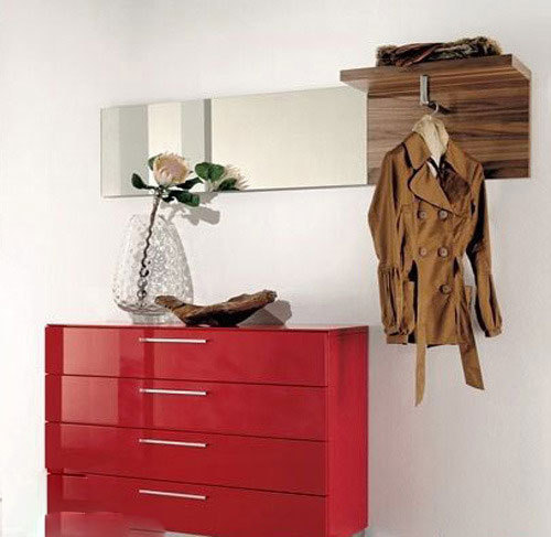 简约红色玄关柜图片