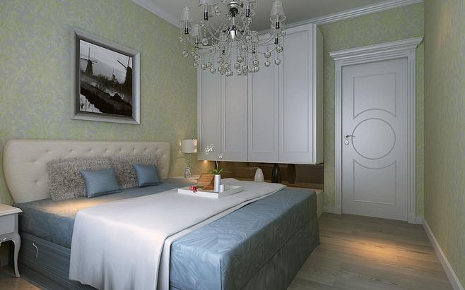 欧式白色卧室衣柜效果图