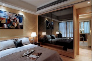 茶色镜面卧室衣柜效果图