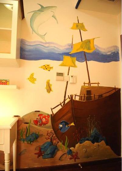 地中海手绘墙图片