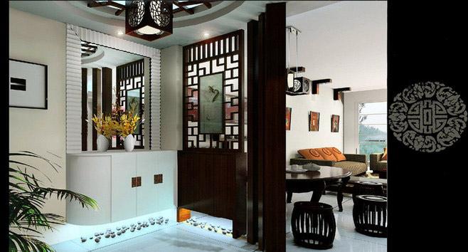 白色中式玄关柜图片