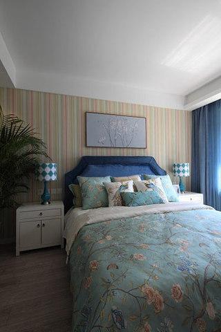 蓝色床头软包效果图