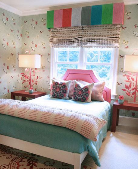 欧式白色蓝色卧室效果图
