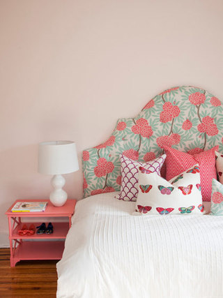 清新花色床头软包效果图