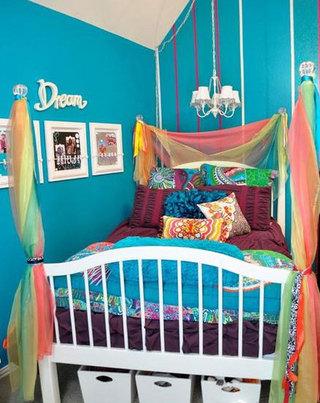 蓝色儿童房背景墙效果图片