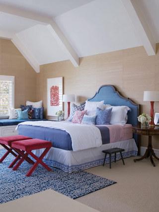 欧式清新蓝色卧室效果图