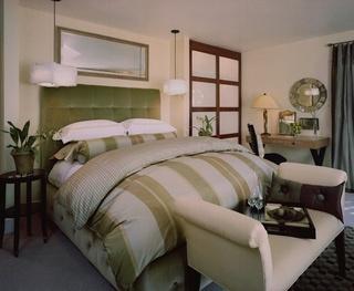 浅绿色舒适床头软包效果图