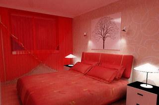 红色卧室婚房效果图