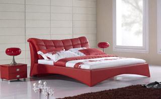 简约皮质红色卧室床图片