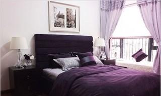 简约紫色卧室效果图