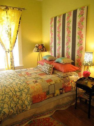 田园卧室床头背景墙图片