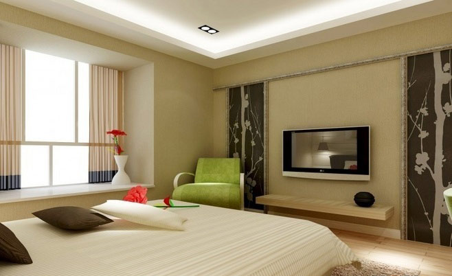 清新卧室电视背景墙效果图
