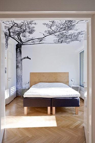 宜家手绘卧室背景墙图片