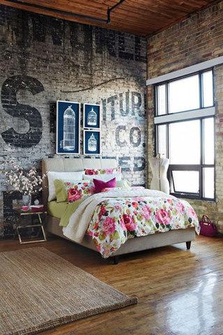 美式乡村字母卧室背景墙效果图