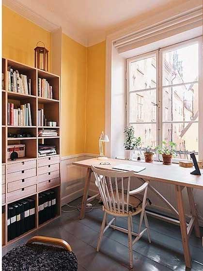 简单亮黄书房设计效果图