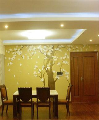 中式风格艺术手绘墙设计图纸