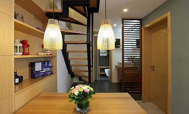 实木隔板时尚餐厅楼梯设计效果图