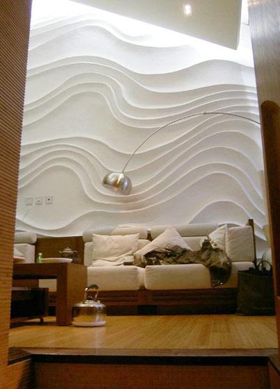 波浪板背景墙图片