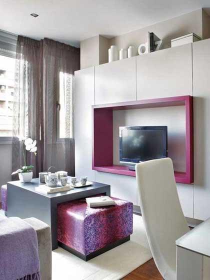 粉紫色电视背景墙设计效果图