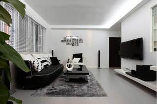 黑白时尚温馨客厅设计效果图
