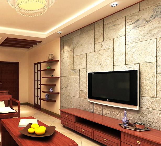 中式瓷砖电视背景墙
