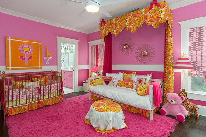 可爱女生儿童房地毯布置图